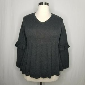 Style & Co Sweaters - Style & Co Gray Ruffled Pleated Swing Sweater